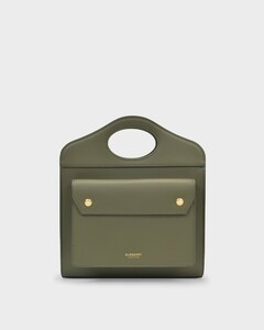 Mini Pocket Bag in Green Grained Leather