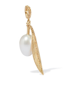 Yellow Gold, Pearl and Diamond Olive Charm