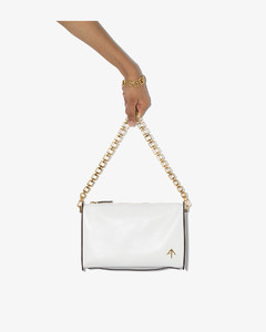 white zipped leather cross body bag