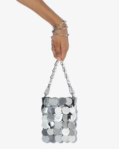 Silver tone oversized sequins shoulder bag