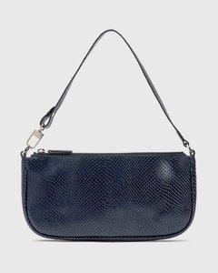 Rachel Deep Blue Snake Print Leather Bag