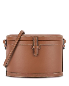 Trunk brown leather box bag