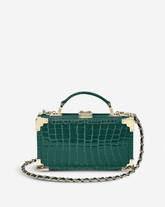 Trinket Box crocodile-embossed leather clutch bag