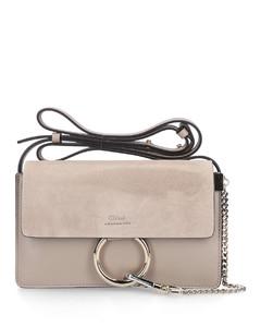 Handbag FAYE S Calfskin Suede Logo grey