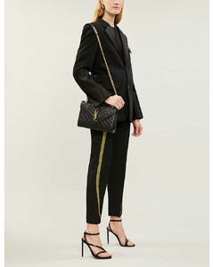 Monogram quilted leather satchel