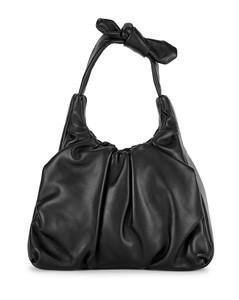 Palm black leather top handle bag