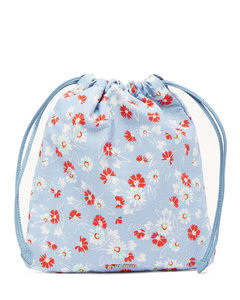 Daisy-print drawcord pouch