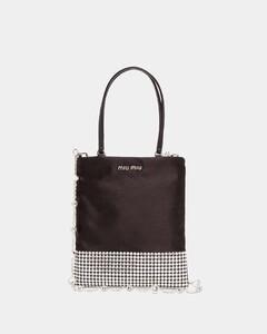 Crystal-embellished satin bag