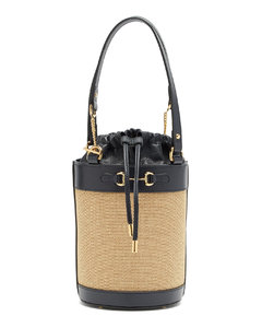 1955 Horsebit leather and canvas bucket bag
