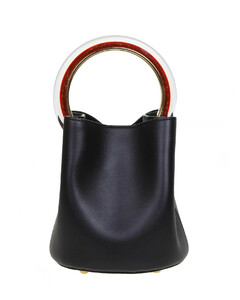 Pannier Hand Bag In Black Leather With Circular Handle In Resin And Metal