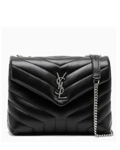 Black/silver small YSL Loulou bag