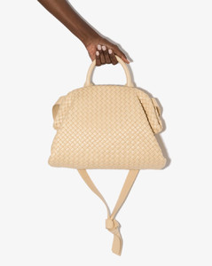 Neutral Intrecciato padded leather tote bag