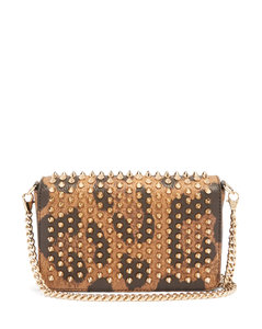 Zoomi leopard-print leather and spike clutch