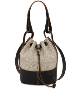 Small Balloon Anagram Linen Leather Bag