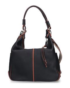 Handbag MIKY leather logo blue brown