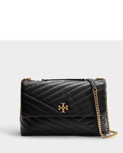 Kira Chevron Convertible Shoulder Bag in Black Leather