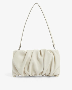 Bean ruched leather clutch