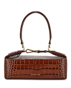 Olivia brown crocodile-effect top handle bag