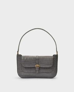 Baguette Handbag Miranda In Grey Croco Embossed Leather