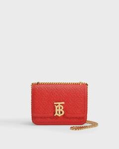 TB Small Bag in Red Caviar Monogram Embossed Lamb Leather