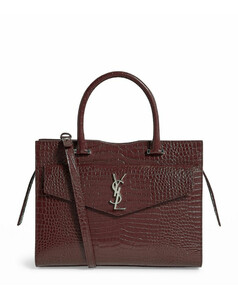Medium Croc-Embossed Leather Uptown Tote Bag