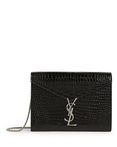 Embossed Leather Cassandra Chain Wallet Bag
