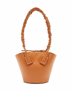 Basket ruched-handle mini leather tote bag