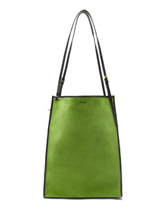 Suede and leather tote bag