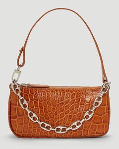 Mini Rachel Crocodile Embossed Shoulder Bag in Brown