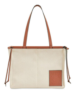 Sm Cushion Linen Leather Tote Bag