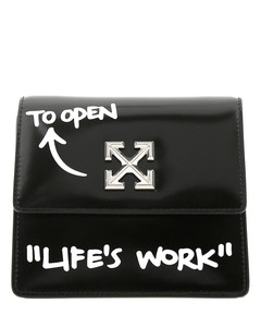 Black leather Quotes Jitney 0.7 clutch