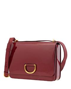Crimson Medium Patent Leather D-Ring Bag