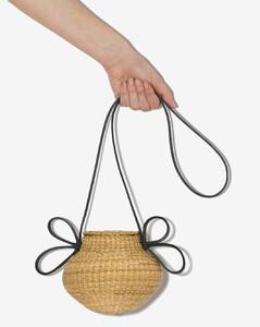 Womens Neutrals Neutral Petite Amphore Straw Leather Shoulder Bag
