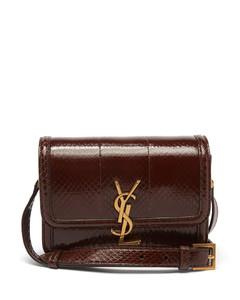 Solferino python-effect leather shoulder bag