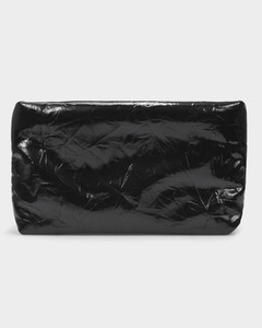 Oil Clutch in Black Leather Lacquer