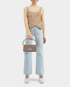 Baguette Handbag In Grey Leather