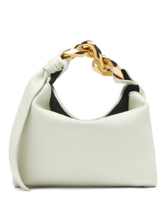 Chain-strap small leather shoulder bag
