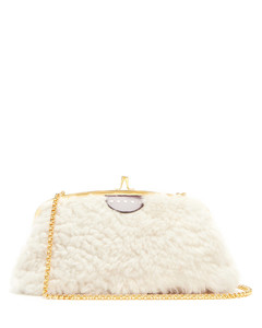 Cindy shearling and leather cross-body bag