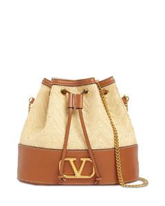 Vlogo Straw & Leather Bucket Bag