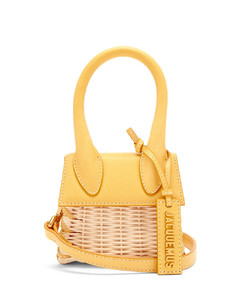 Le Chiquito leather and wicker cross-body bag