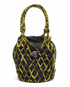 Netted printed-nylon and leather bucket bag