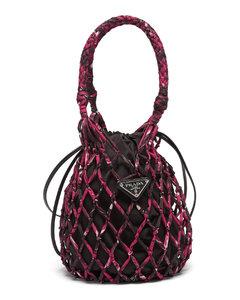 Printed-net and nylon bucket bag