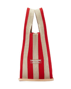 Stripe knitted tote bag