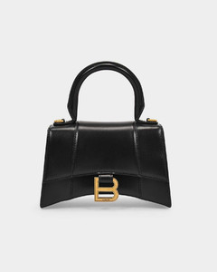 Hour Top Handle Xs Bag in Black Shiny Box Calfskin