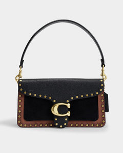 Mixed Leather with Border Rivets Tabby Shoulder Bag 26 in Black
