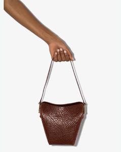 brown mini folded leather tote bag