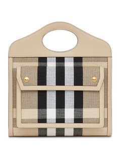Mini Pocket Logo Canvas Check Tote