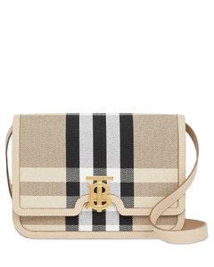 Medium Tb Canvas Check Shoulder Bag