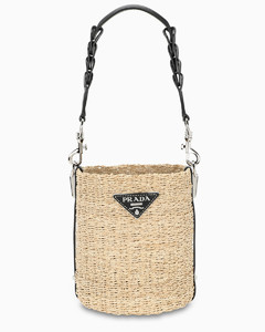 Corn husk and leather bucket bag