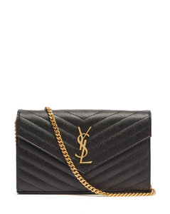 Chain-strap YSL-plaque grained-leather wallet